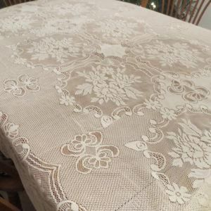 Vintage Ivory Lace Floral Design Tablecloth